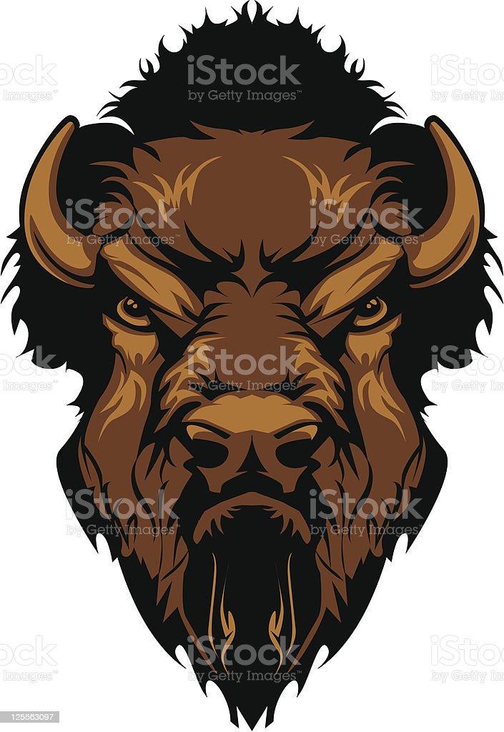Buffalo Bison Mascot Head Graphic Graphic Mascot Image of a Buffalo Bison Head American Bison stock vector