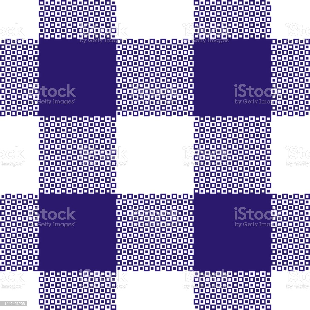 Buffalo check plaid pattern vector in navy blue and white. Seamless...