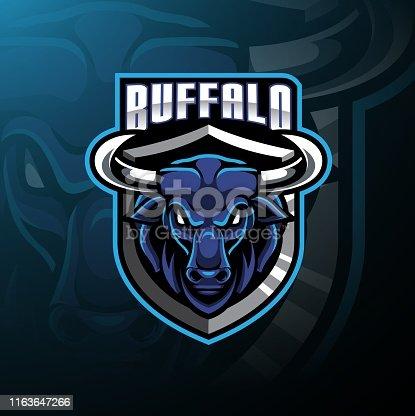 Illustration of Buffalo head mascot logo design