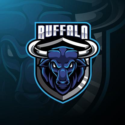 Buffalo head mascot logo design