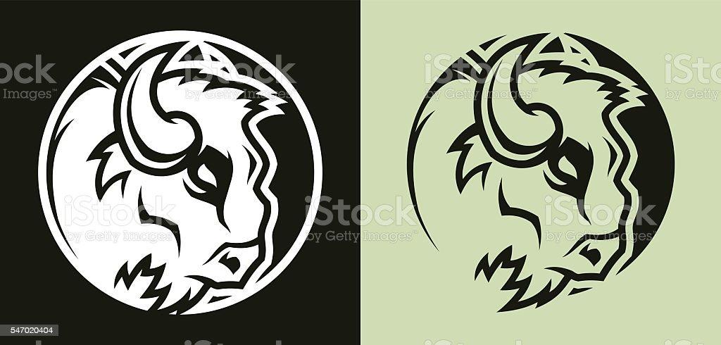 buffalo head mascot vector art illustration
