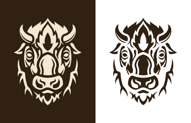 Buffalo head sihouette Stylized buffalo head vector outline silhouette. Bison icon character. american bison stock illustrations