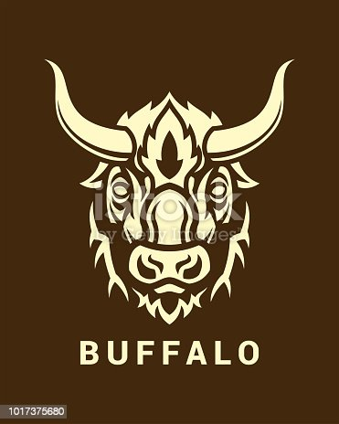 Stylized buffalo head with long horns on dark background