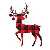 Buffalo Plaid Reindeer Silhouette with Christmas Ornaments