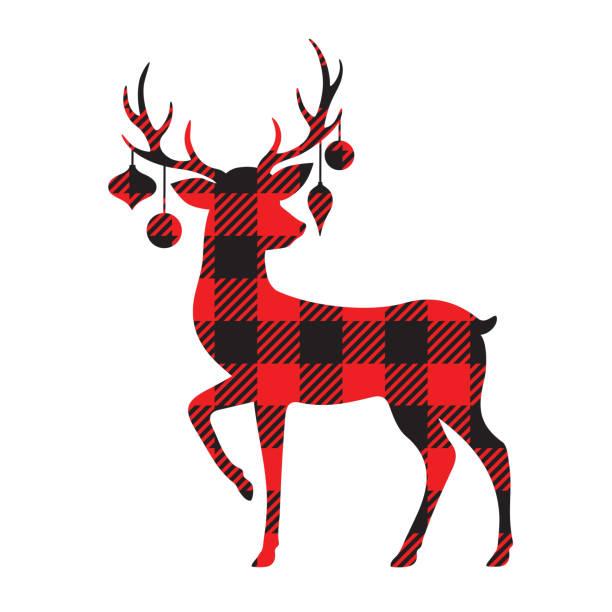buffalo plaid reindeer silhouette mit weihnachtsschmuck - rentier stock-grafiken, -clipart, -cartoons und -symbole