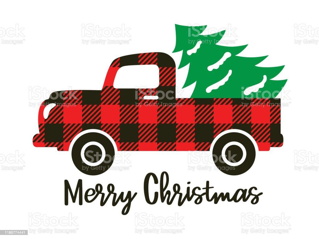 buffalo plaid truck carrying a christmas tree vector id1185774441
