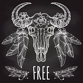 Hand drawn buffalo skull with flower and feather headdress and lettering free. Vector illustration