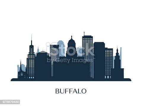 Buffalo skyline, monochrome silhouette. Vector illustration.