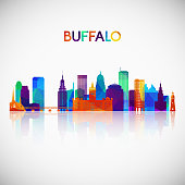 Buffalo skyline silhouette in colorful geometric style. Symbol for your design. Vector illustration.