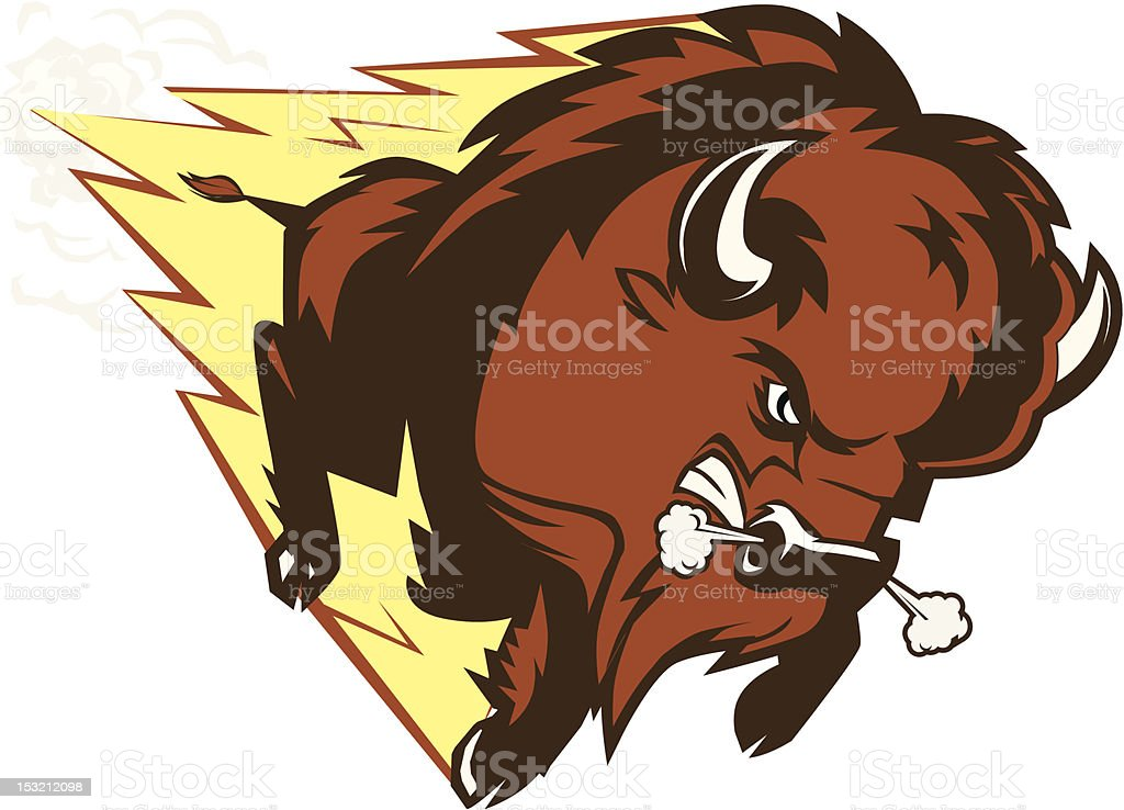 Buffalo Thunder An angry buffalo mascot American Bison stock vector