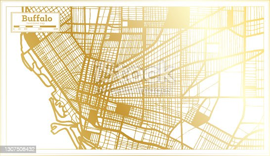 Buffalo USA City Map in Retro Style in Golden Color. Outline Map.