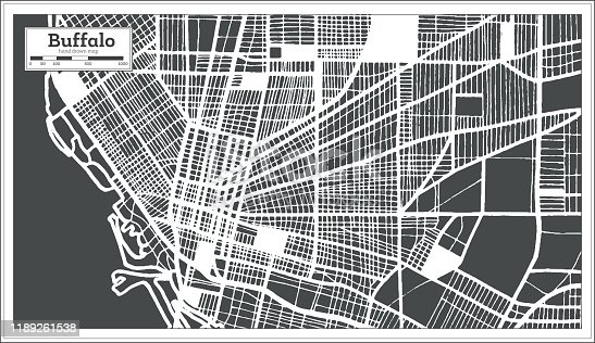Buffalo USA City Map in Retro Style. Outline Map.