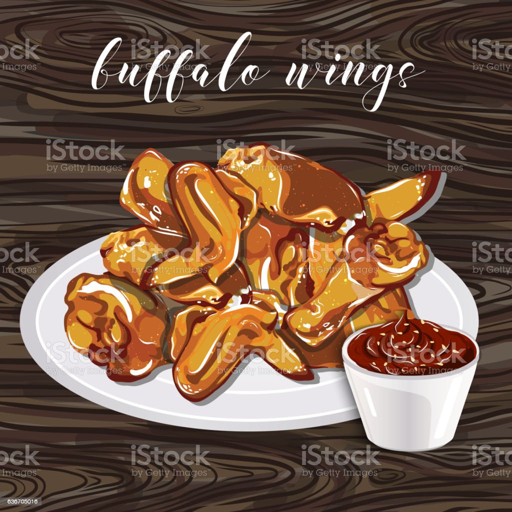 Buffalo wings and barbecue sauce on wood a background. vector art illustration