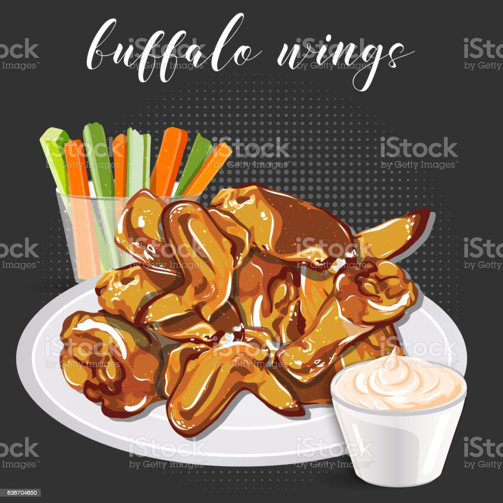 Buffalo wings, celery with carrot and blue cheese in a vector art illustration
