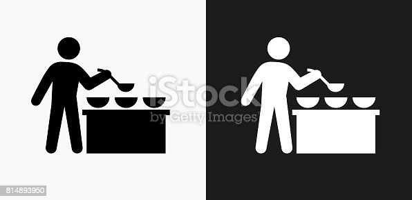 Buffet and Soup Kitchen Icon on Black and White Vector Backgrounds. This vector illustration includes two variations of the icon one in black on a light background on the left and another version in white on a dark background positioned on the right. The vector icon is simple yet elegant and can be used in a variety of ways including website or mobile application icon. This royalty free image is 100% vector based and all design elements can be scaled to any size.