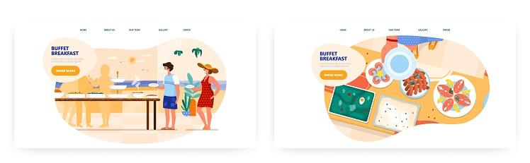 Buffet breakfast landing page design, website banner vector template set. Hotel, resort restaurant catering business.
