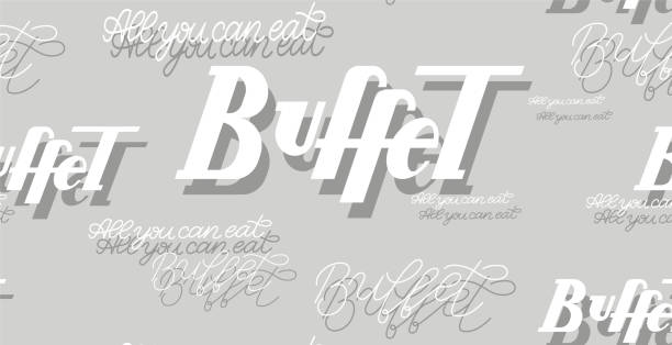 Buffet handwritten white and grey lettering seamless pattern vector illustration. Paper, wallpaper design for cafe and restaurant vector art illustration