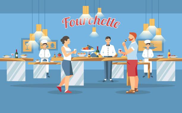 ilustrações de stock, clip art, desenhos animados e ícones de buffet table concept. vector flat illustration. - sideboard