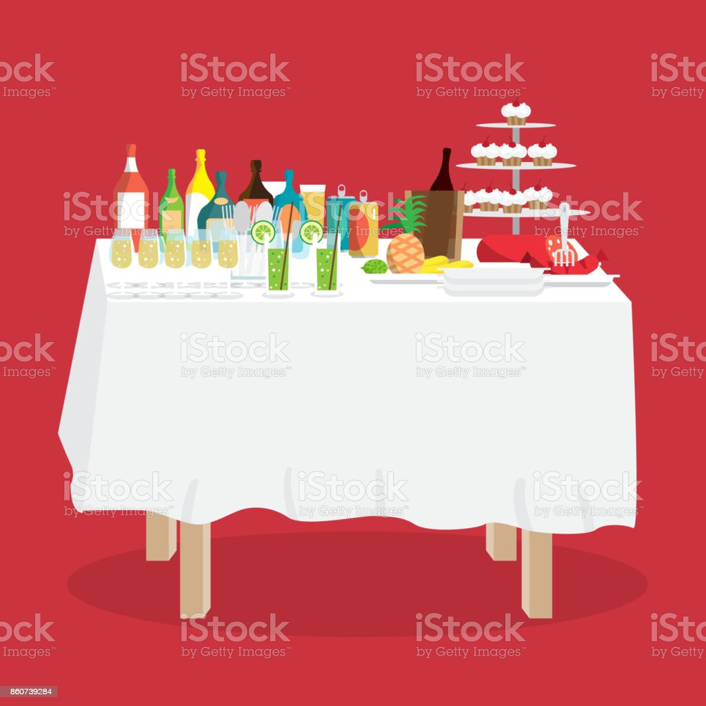 Buffet table with food and drinks. Cartoon style vector illustration...