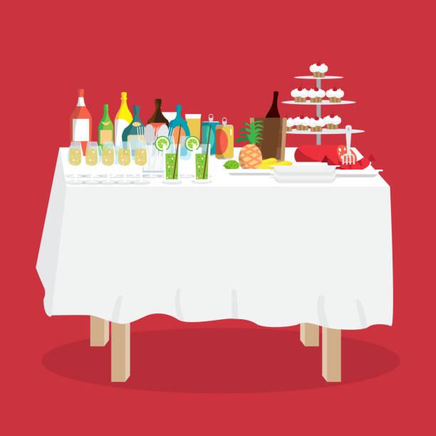 ilustrações de stock, clip art, desenhos animados e ícones de buffet table with food and drinks - muita comida