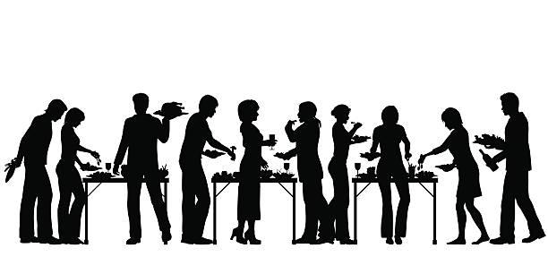 illustrazioni stock, clip art, cartoni animati e icone di tendenza di a buffet - tavola imbandita