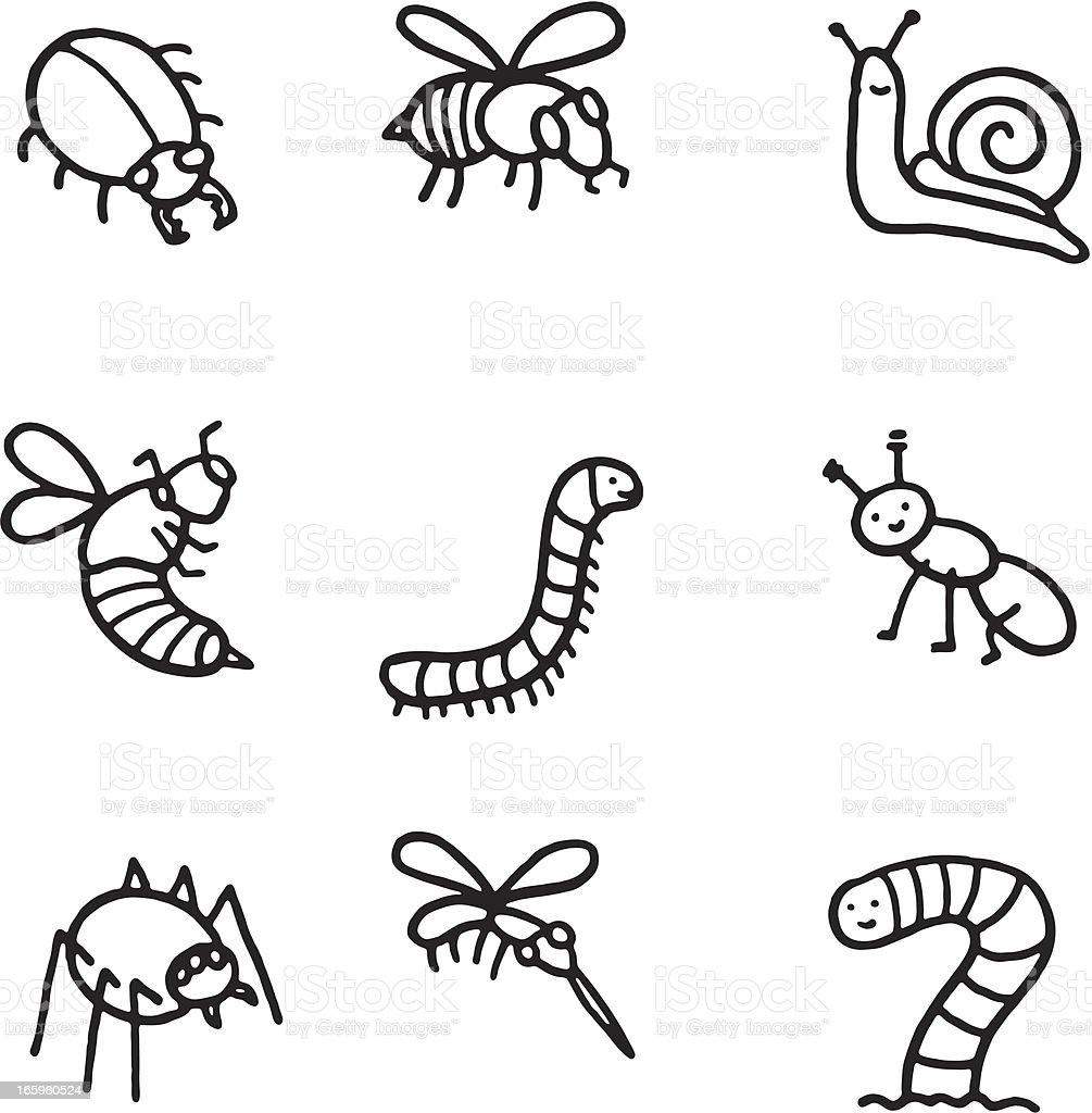 Käfer doodle icon-set – Vektorgrafik