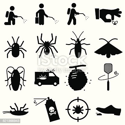 Pest exterminators. Vector icons for video, mobile apps, Web sites and print projects.