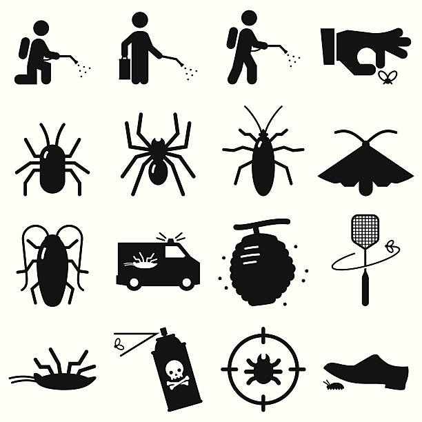 bug exterminators - black series - bugs stock illustrations, clip art, cartoons, & icons
