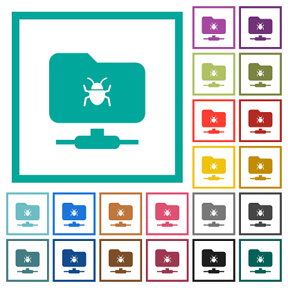 FTP bug flat color icons with quadrant frames