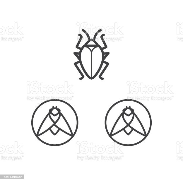 Bug Icon Symbol Insect Moth Cockroach Sign Template Stock Vector Art