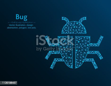 Bug low poly vector illustration, insect polygon icon on blue background, abstract design illustration