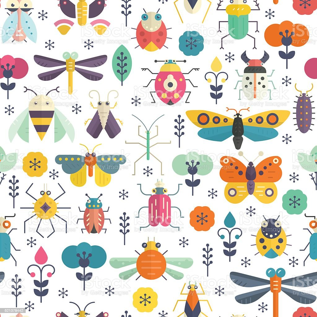 Bug Pattern vector art illustration