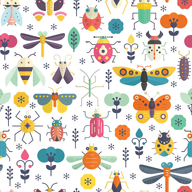 bug pattern - bugs stock illustrations, clip art, cartoons, & icons