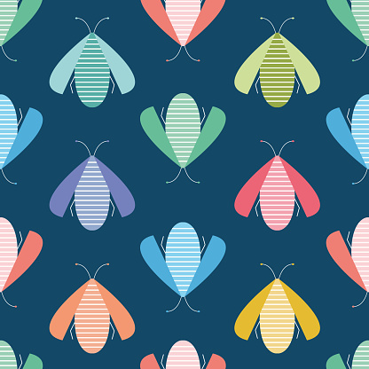 Bug vector background design. Bright and colourful insect seamless repeat pattern. Wildlife resource.