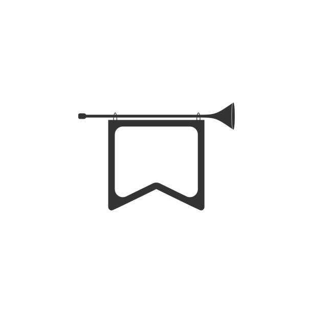 signalhorn sie mit flaggen-symbol. detaillierten ikone der musikinstrument-symbol. premium-qualität-grafik-design. eines symbols sammlung für webseiten, webdesign, mobile-app - fanfare stock-grafiken, -clipart, -cartoons und -symbole