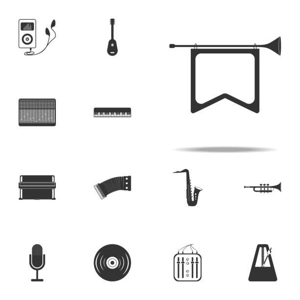 signalhorn sie mit flaggen-symbol. musik-instrumente-ikonen universal set für web und mobile geräte - fanfare stock-grafiken, -clipart, -cartoons und -symbole