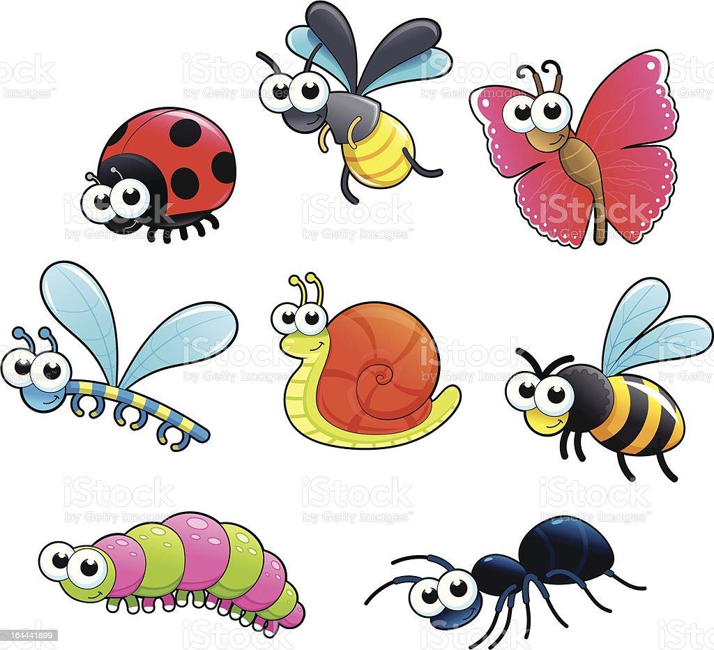 Bugs + 1 snail. vector art illustration