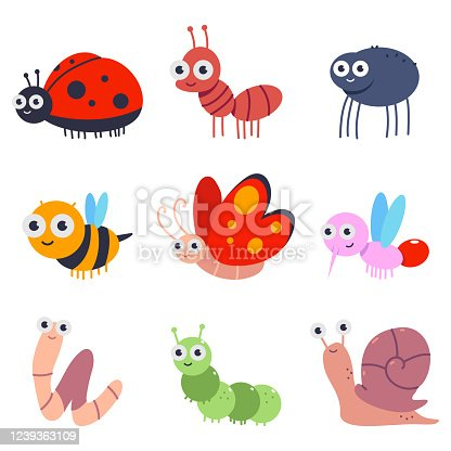 Bugs and insects vector cartoon set.