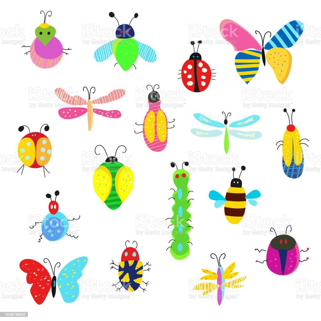 イラストが面白い設定バグやその他の昆虫 アイコンセットのベクター
