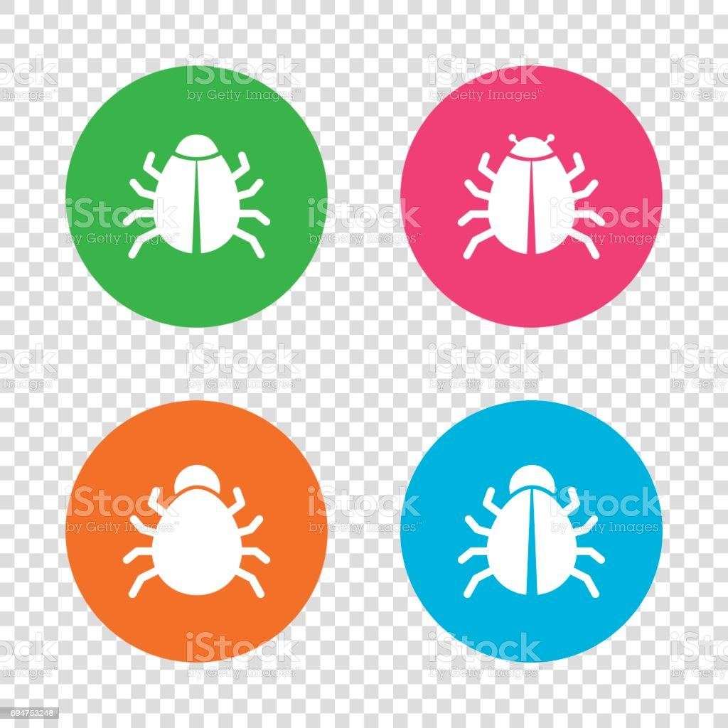 Bugs signs. Virus software error icons. vector art illustration