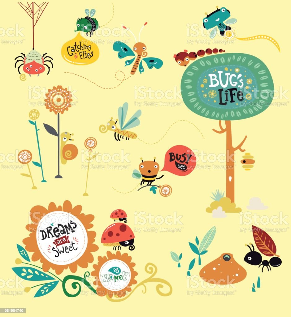bugs world vector art illustration