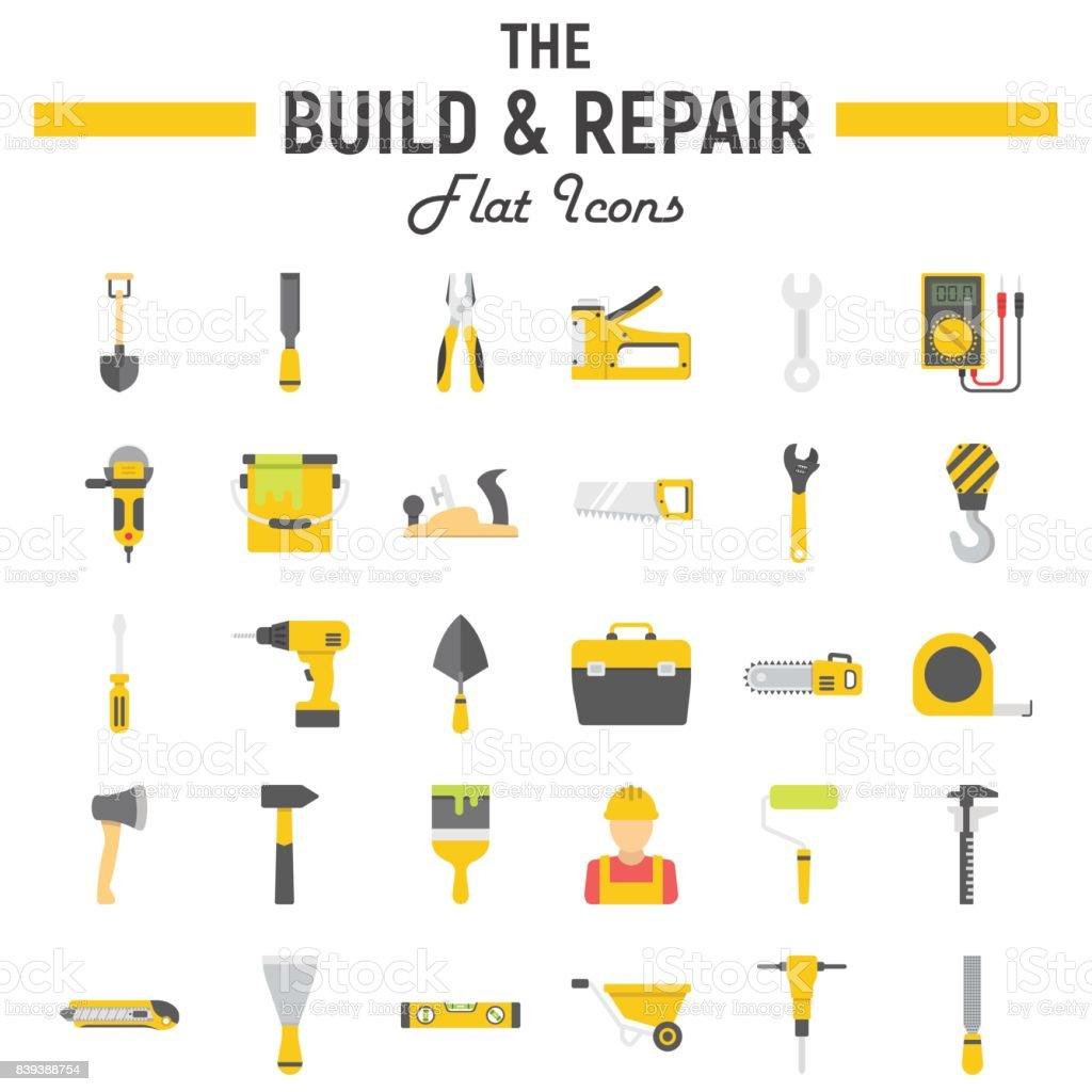 Build And Repair Flat Icon Set Construction Symbols
