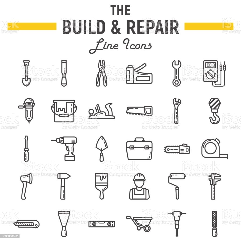 Build And Repair Line Icon Set Construction Symbols Collection