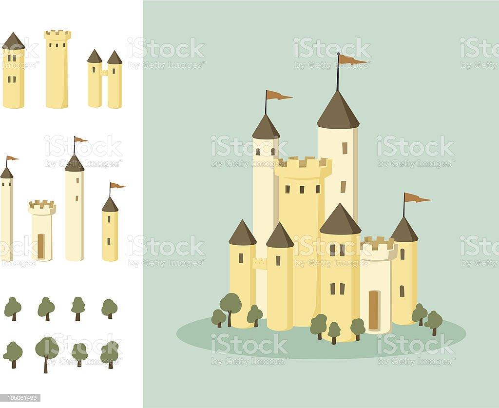 build your own castle vector art illustration