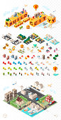 Build Your Own City . Set of Isolated Minimal City Vector Elements on Transparent Background