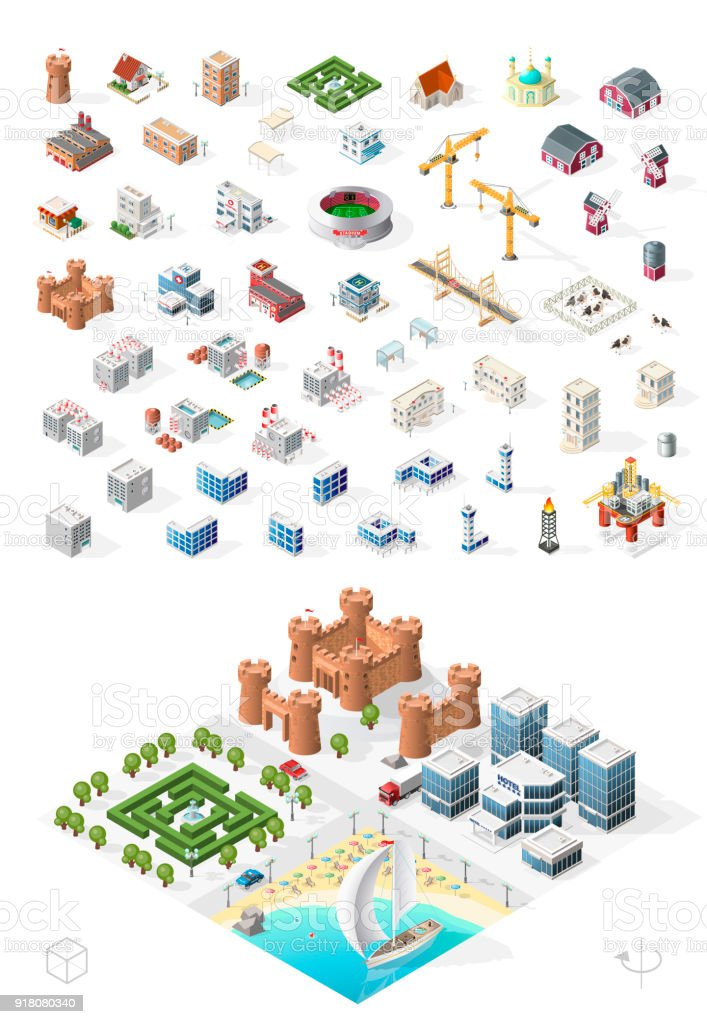 Build Your Own Isometric City . Isolated High Quality Vector Elements on White Background vector art illustration