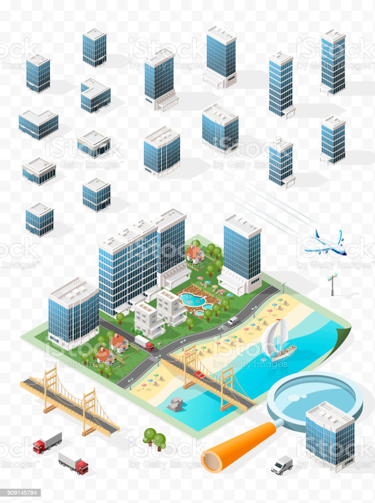 Build Your Own Isometric City . Isolated Vector Elements on Transparent Background vector art illustration