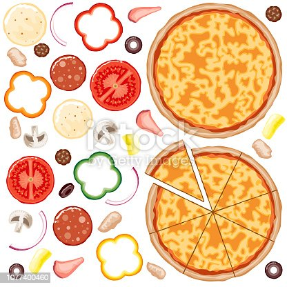 A set of everything you need to build your own custom pizza. Cheese pizza base with tomato sauce, and all the toppings you could want.
