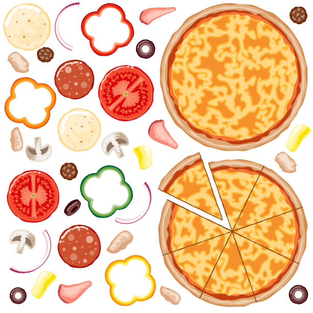 Build Your Own Pizza Set A set of everything you need to build your own custom pizza. Cheese pizza base with tomato sauce, and all the toppings you could want. tomato sauce stock illustrations