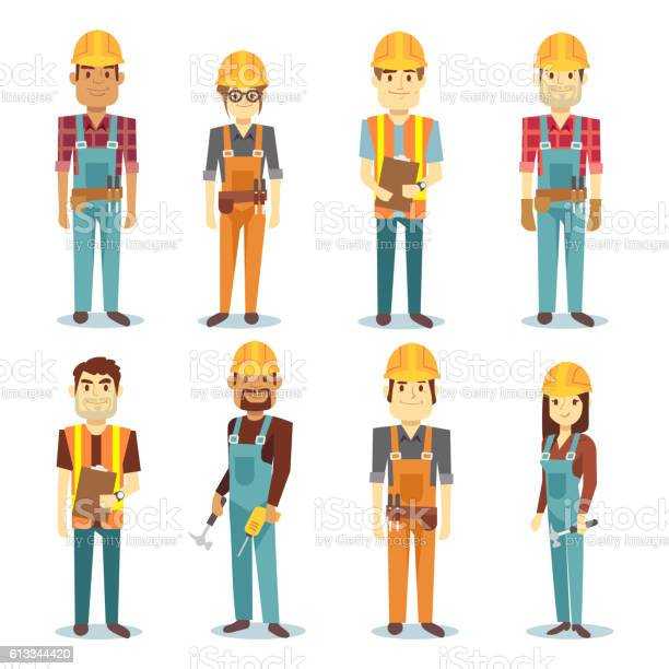 Builder contractor man and female worker vector people character set vector id613344420?b=1&k=6&m=613344420&s=612x612&h=xxrbpr1c1zlmms4izgk mdqhpkz5xu4xkg6iw17akh4=
